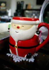 Santa Mug on snowflake coaster