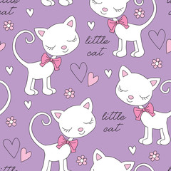 seamless purple cat pattern vector illustration