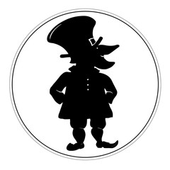 Black and white leprechaun logo
