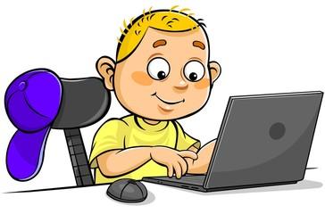 Schoolboy using Laptop