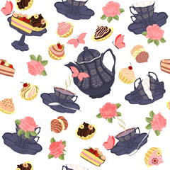 Vector seamless pattern with tea, roses and butterflies.