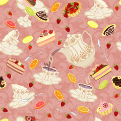 Pattern with flying tea cups, fruits and sweets.