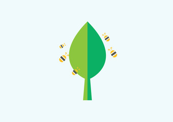 Tree and Bee Icon Logo