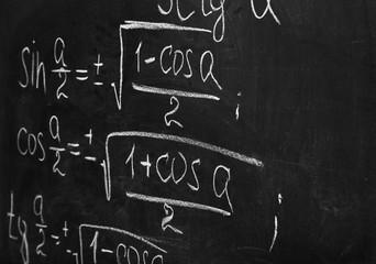 School blackboard with formulas