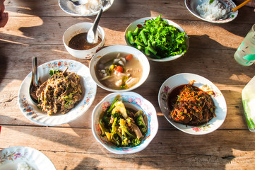 Many local Thai food lunch or dinner