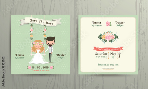Rustic Wedding Cartoon Bride And Groom Couple Invitation