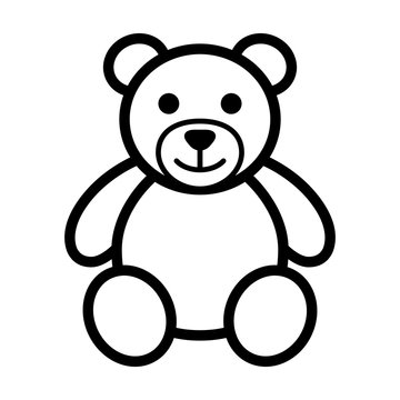 Teddy bear plush toy line art icon for apps and websites