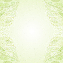 Vintage abstract green floral card vertical