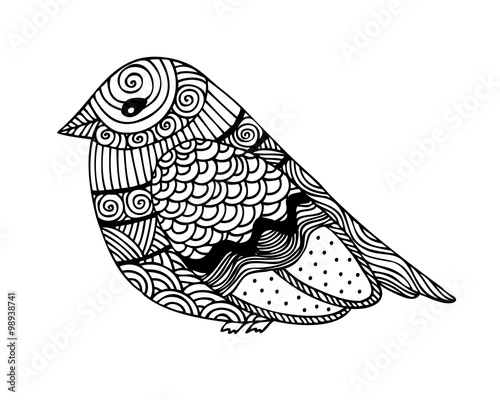 Adult coloring book page design with fantastic bird\