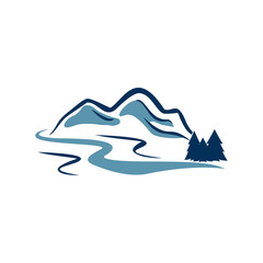 River Mountain Canyon Adventure Logo Illustration