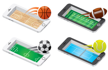 Game on mobile illustration set. basket ball, American football, Soccer and tennis