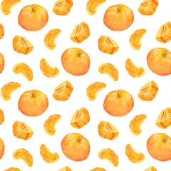 Seamless backdrop with orange mandarin fruits