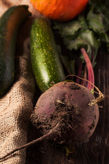 Beetroot and zucchini on sackcloth