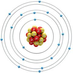 Argon atom on a white background