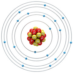 Kalium atom on a white background