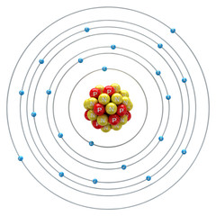 Titanium atom on a white background
