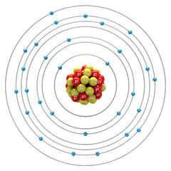 Cuprum atom on a white background