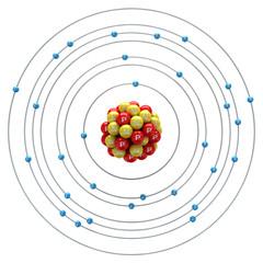 Zincum atom on a white background