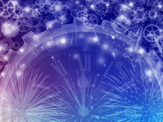 Happy New Year, Background With Fireworks and Clock