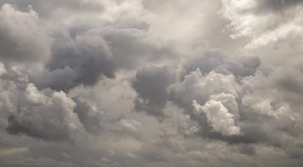 Dark ominous grey storm clouds. Dramatic sky in Patagonia