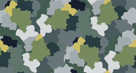Seamless repeating pattern simulates abstract camouflage
