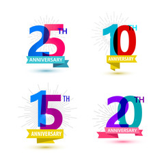 Vector set of anniversary numbers design. 25, 10, 15, 20 icons, compositions with ribbons
