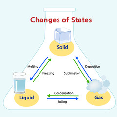 The names of the transitions between states of matter