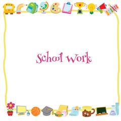 A yellow frame and school supplies on the top and bottom