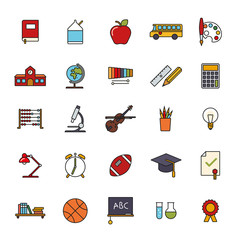 Education Filled Line Icon Vector Set