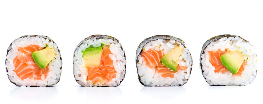 close-up of traditional fresh japanese seafood sushi rolls on a