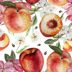 Watercolor Pattern with peaches and flowers