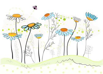 Daisy spring flowers background. Floral abstract background vector illustration