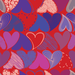 Seamless Pattern with Hearts. St. Valentine's Day Design Element
