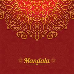 Vector card with glow mandala. Vector background. Ethnic decorat