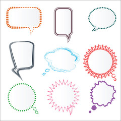 Set of Various Colorful Speech Bubbles in Different Frames, Vect