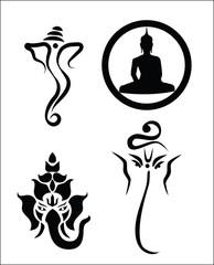 Mix of Buddha and Ganesha vector