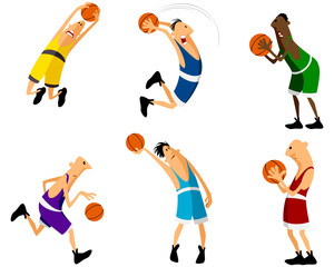 Six basketball players