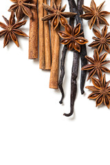 Star anise, cinnamon and vanilla pods
