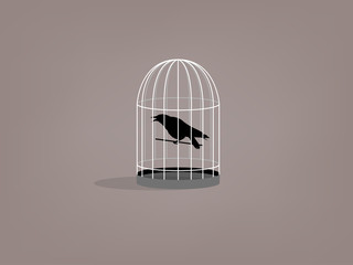beautiful graphic design of crow in birdcage