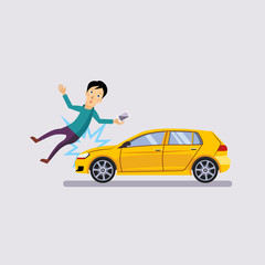 Traffic accident, the vehicle knocked the man flat style vector