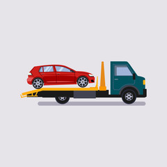 Roadside assistance tow truck illustration car