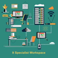 It specialist workspace scene. Vector illustration