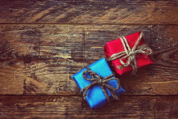 blue and red gift box