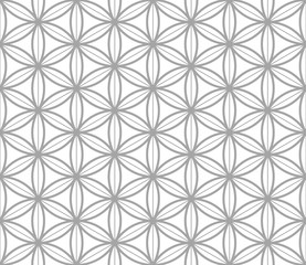 Flower of Life Geometric seamless pattern in asian style. Traditional vector seamless pattern. Sacred geometry elements. Monochrome template pattern.