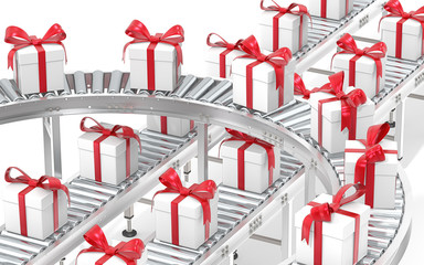 Gift box distribution. Industrial Roller Conveyor System. Steel conveyors in various directions with Gift Boxes. White with red ribbons.