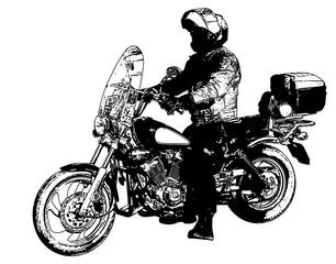 Wall Mural - motorcyclist illustration - vector