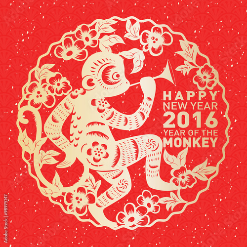 traditional chinese paper cut art for chinese new year year of the monkey 2016 - Chinese New Year Year Of The Monkey