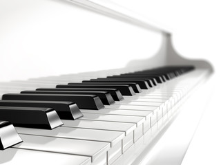 piano keys on white piano.