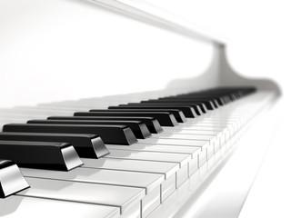 piano keys on white piano.