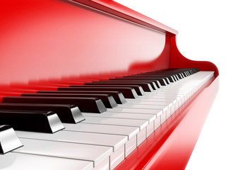piano keys on red piano